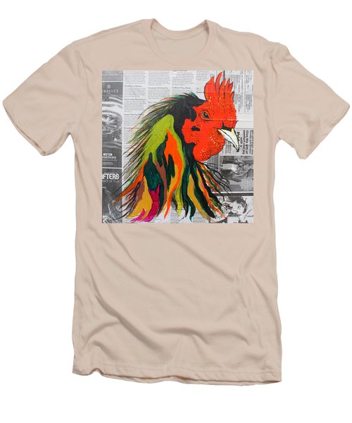 Men's T-Shirt (Slim Fit) featuring the painting Amadeo The Tuscan Rooster by Janice Rae Pariza