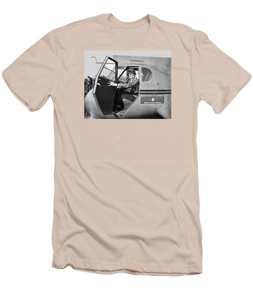 Amelia Earhart - 1936 Men's T-Shirt (Slim Fit) by Daniel Hagerman