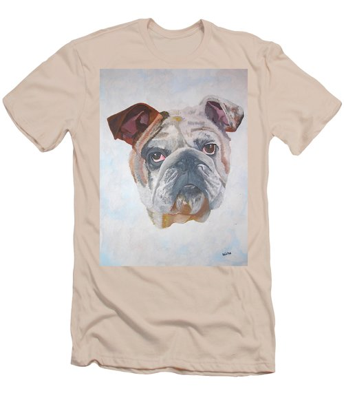 Men's T-Shirt (Slim Fit) featuring the painting American Bulldog Pet Portrait by Tracey Harrington-Simpson