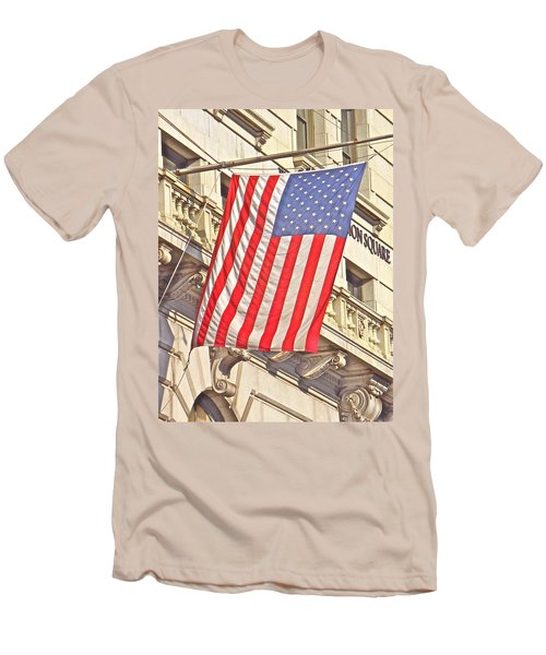 Men's T-Shirt (Slim Fit) featuring the photograph American Flag N.y.c 1 by Joan Reese