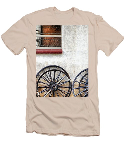 Men's T-Shirt (Slim Fit) featuring the photograph Amish Buggy Wheels by Polly Peacock