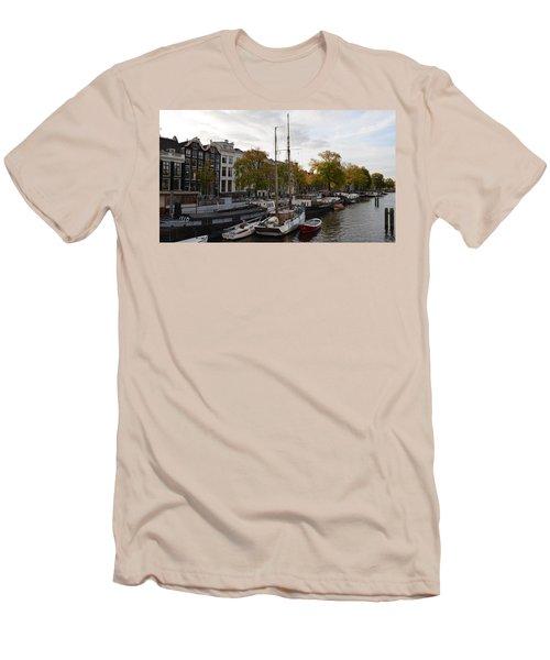 Amstel River Men's T-Shirt (Slim Fit) by Cheryl Miller