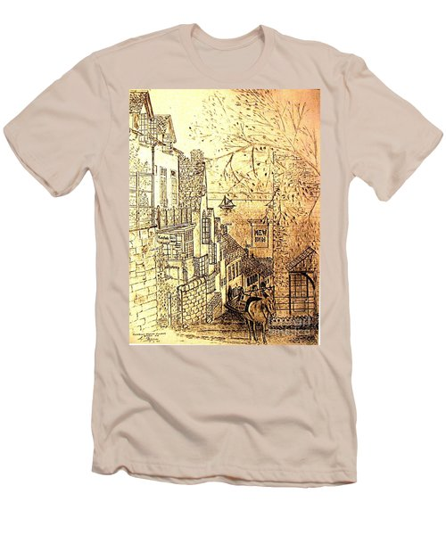 An English Fishing Village Men's T-Shirt (Athletic Fit)