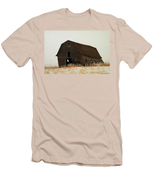 An Old Leaning Barn In North Dakota Men's T-Shirt (Slim Fit) by Jeff Swan