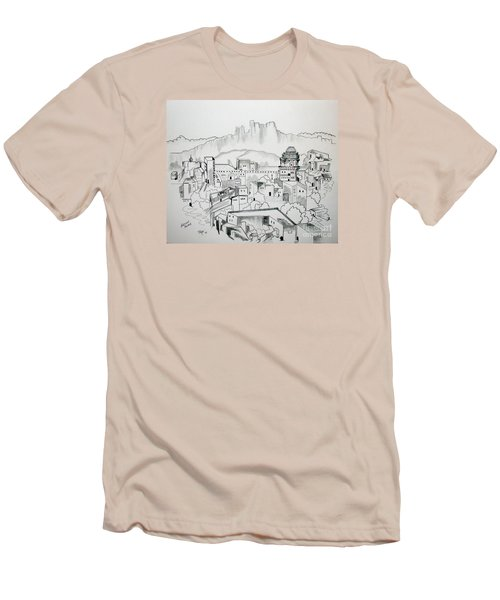 Men's T-Shirt (Slim Fit) featuring the drawing Ancient City In Pen And Ink by Janice Rae Pariza