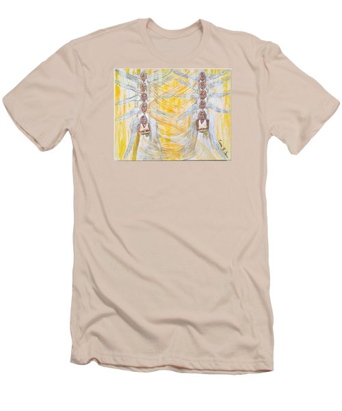 Men's T-Shirt (Slim Fit) featuring the painting Angel Winds Flames Of Fire by Cassie Sears