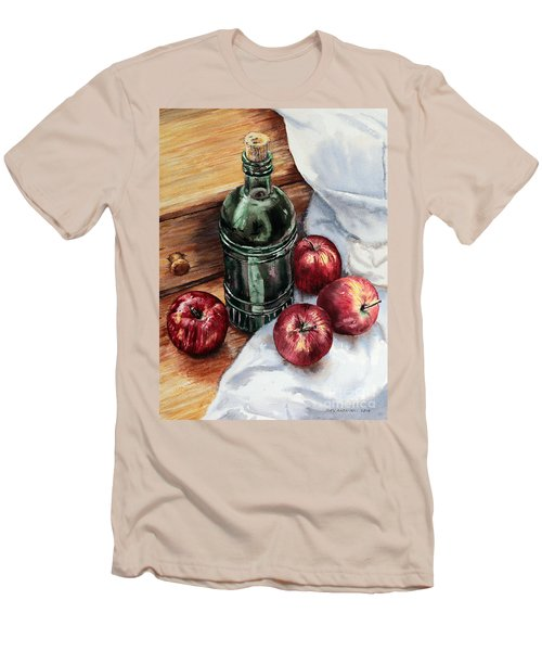 Men's T-Shirt (Slim Fit) featuring the painting Apples And A Bottle Of Liqueur by Joey Agbayani