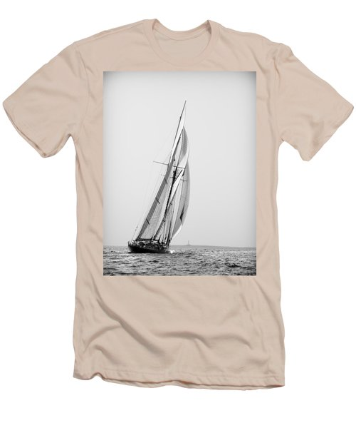 A Tall Ship In Mediterranean Water Approaching To Lighthouse Of Isla Del Aire - Menorca Men's T-Shirt (Athletic Fit)