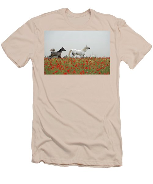 Men's T-Shirt (Slim Fit) featuring the photograph At The Poppies' Field... 2 by Dubi Roman