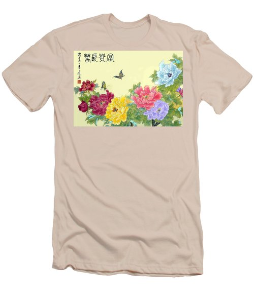 Auspicious Spring Men's T-Shirt (Slim Fit) by Yufeng Wang