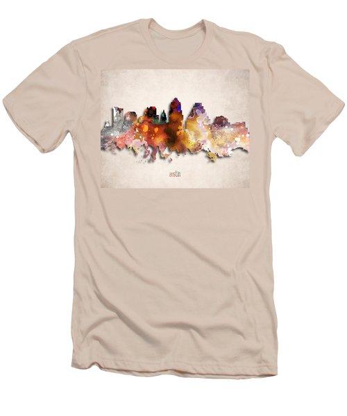 Austin Painted City Skyline Men's T-Shirt (Slim Fit) by World Art Prints And Designs