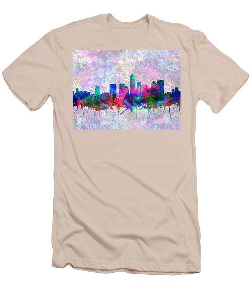 Austin Texas Skyline Watercolor 2 Men's T-Shirt (Slim Fit) by Bekim Art