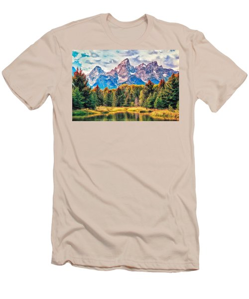 Autumn In The Tetons Men's T-Shirt (Slim Fit) by Dominic Piperata