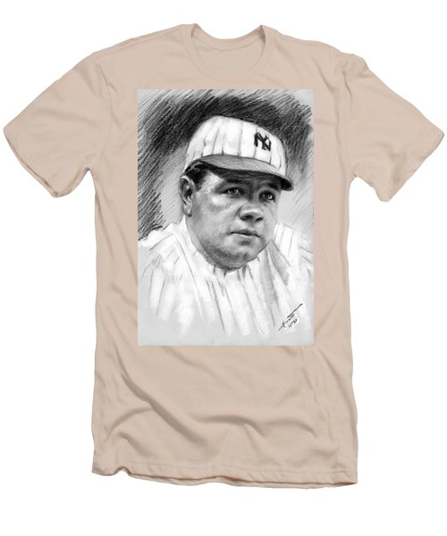Men's T-Shirt (Slim Fit) featuring the drawing Babe Ruth by Viola El