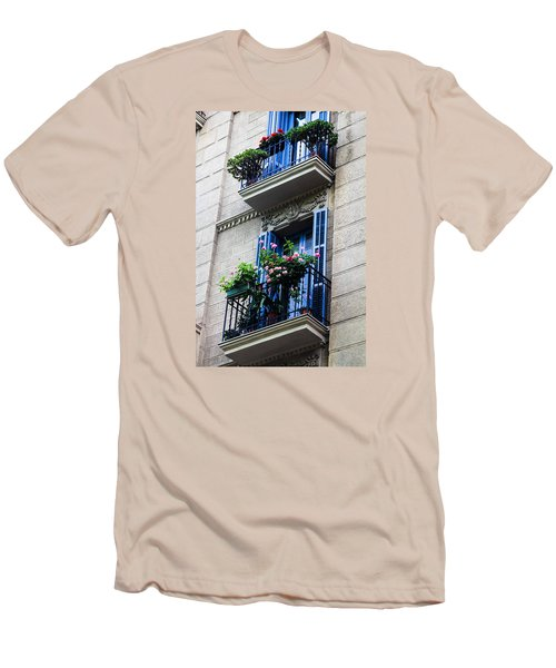 Balconies In Bloom Men's T-Shirt (Slim Fit) by Menachem Ganon