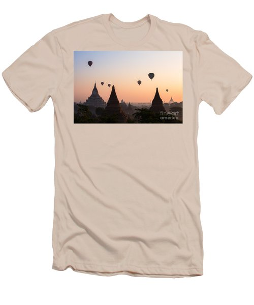 Ballons Over The Temples Of Bagan At Sunrise - Myanmar Men's T-Shirt (Athletic Fit)