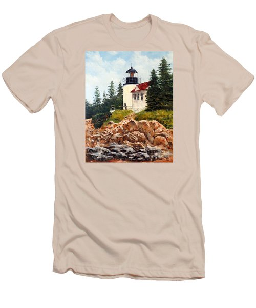 Men's T-Shirt (Slim Fit) featuring the painting Bass Harbor Head Light by Lee Piper