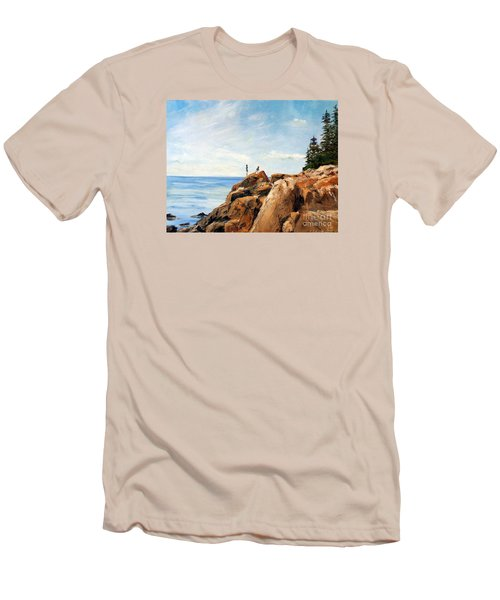 Men's T-Shirt (Slim Fit) featuring the painting Bass Harbor Rocks by Lee Piper
