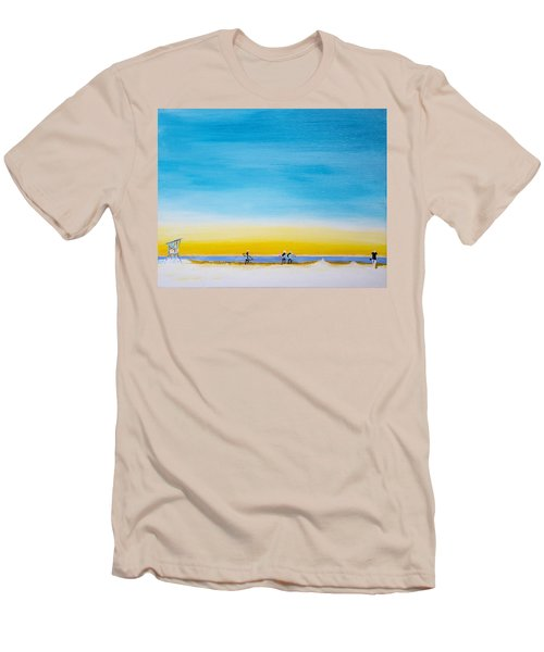 Men's T-Shirt (Athletic Fit) featuring the painting Surfers On The Beach by Ben Gertsberg