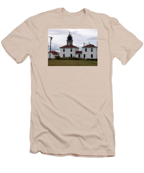 Beavertail Lighthouse Men's T-Shirt (Slim Fit) by Catherine Gagne