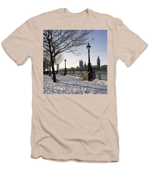 Big Ben Westminster Abbey And Houses Of Parliament In The Snow Men's T-Shirt (Slim Fit) by Robert Hallmann