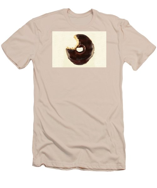 Men's T-Shirt (Slim Fit) featuring the photograph Chocolate Donut With Missing Bite by Vizual Studio