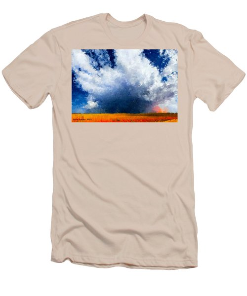 Men's T-Shirt (Slim Fit) featuring the painting Big Cloud In A Field by Bruce Nutting