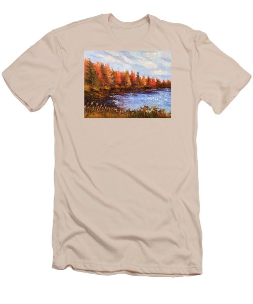 Men's T-Shirt (Slim Fit) featuring the painting Birchwood Lake by Jason Williamson