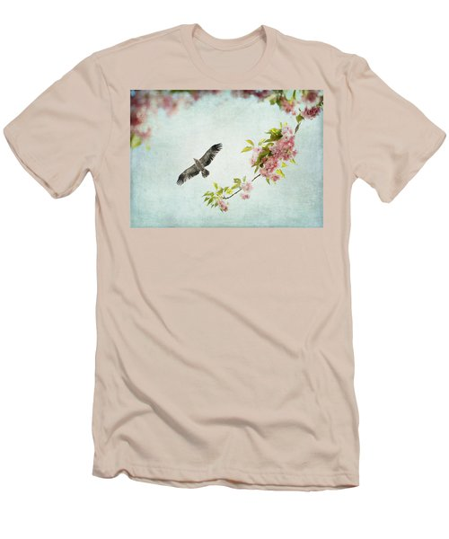 Bird And Pink And Green Flowering Branch On Blue Men's T-Shirt (Slim Fit) by Brooke T Ryan