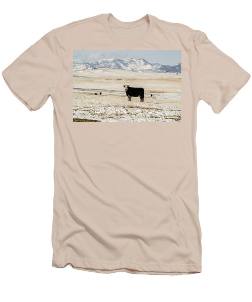 Men's T-Shirt (Athletic Fit) featuring the photograph Black Baldy Cows by Sue Smith
