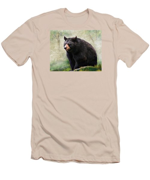 Men's T-Shirt (Slim Fit) featuring the painting Black Bear by Mary Almond