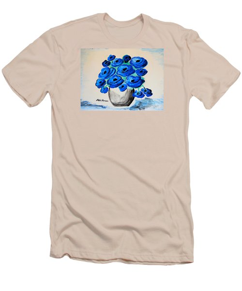 Men's T-Shirt (Slim Fit) featuring the painting Blue Poppies by Ramona Matei