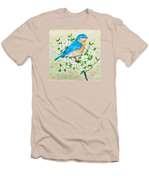 Bluebird And Dogwood Men's T-Shirt (Slim Fit) by Lena Auxier