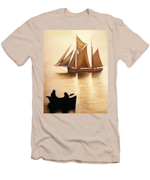 Boats In Sun Light Men's T-Shirt (Slim Fit) by Janice Dunbar