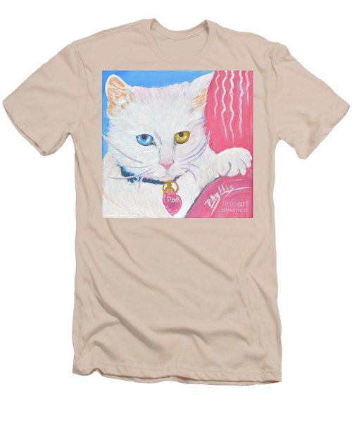 Men's T-Shirt (Slim Fit) featuring the painting Boo Kitty by Phyllis Kaltenbach