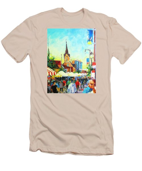 Men's T-Shirt (Slim Fit) featuring the painting Brady Street by Les Leffingwell