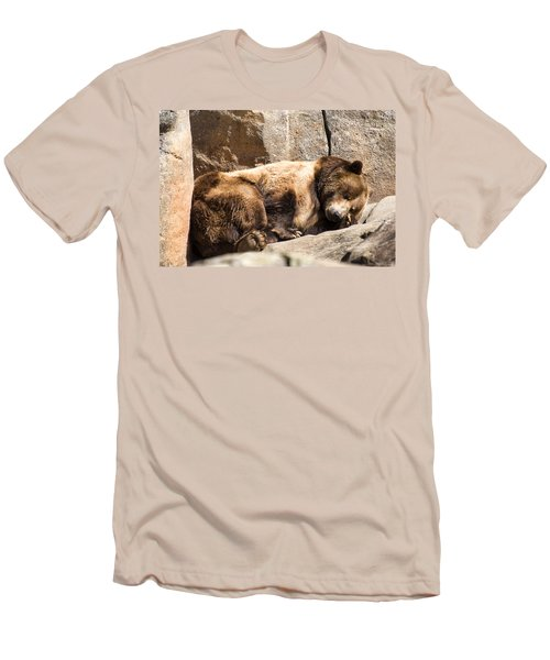 Brown Bear Asleep Again Men's T-Shirt (Slim Fit) by Chris Flees