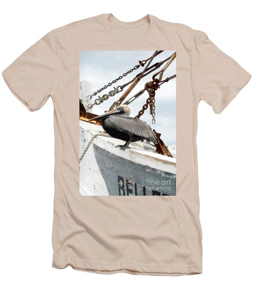 Brown Pelican Men's T-Shirt (Slim Fit) by Valerie Reeves