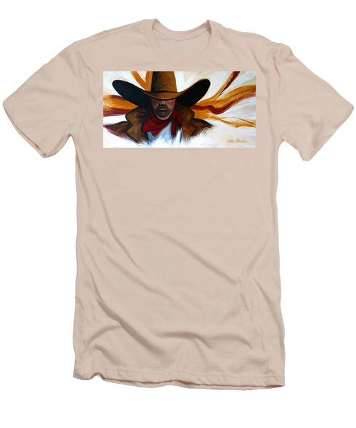 Men's T-Shirt (Slim Fit) featuring the painting Brushstroke Cowboy #4 by Lance Headlee