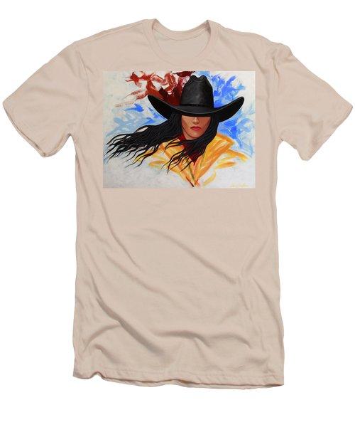 Brushstroke Cowgirl #3 Men's T-Shirt (Slim Fit) by Lance Headlee