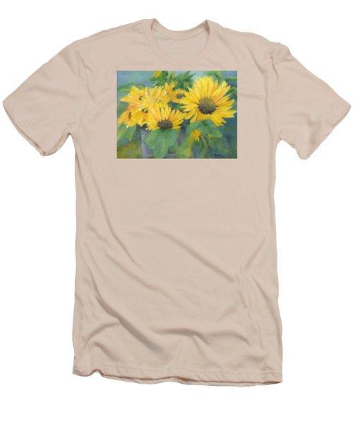 Bucket Of Sunflowers Colorful Original Painting Sunflowers Sunflower Art K. Joann Russell Artist Men's T-Shirt (Slim Fit) by Elizabeth Sawyer