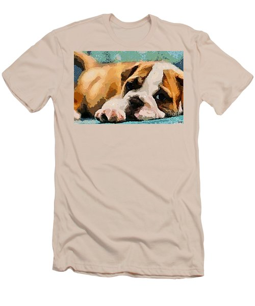 Bulldog Puppy Men's T-Shirt (Athletic Fit)
