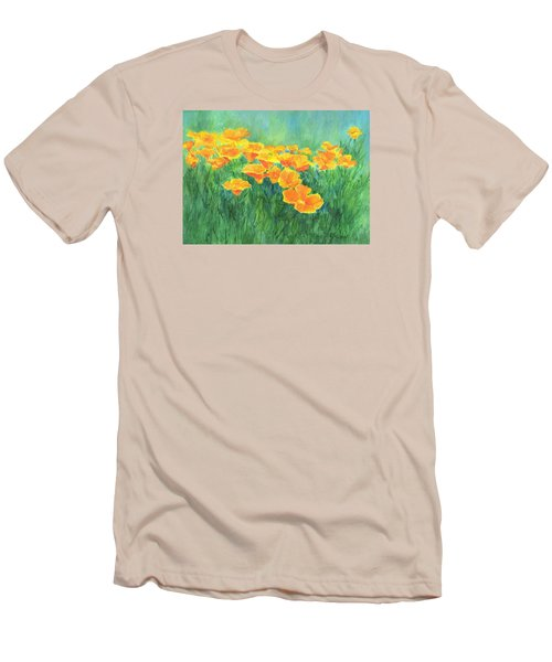 California Golden Poppies Field Bright Colorful Landscape Painting Flowers Floral K. Joann Russell Men's T-Shirt (Slim Fit) by Elizabeth Sawyer