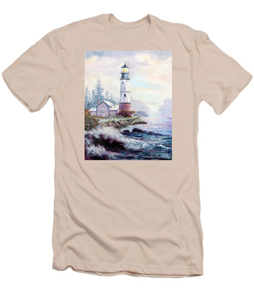 Men's T-Shirt (Slim Fit) featuring the painting California Lighthouse by Lee Piper