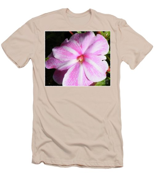 Men's T-Shirt (Slim Fit) featuring the photograph Candy Cane Impatiens by Barbara Griffin