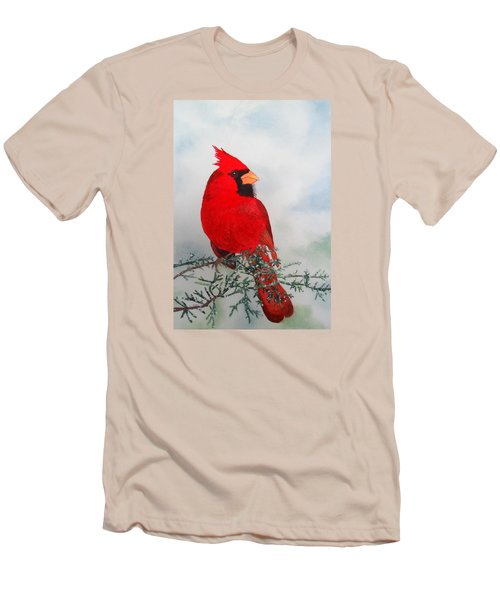 Men's T-Shirt (Slim Fit) featuring the painting Cardinal by Laurel Best