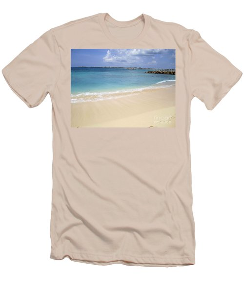 Caribbean Beach Front Men's T-Shirt (Slim Fit) by Fiona Kennard