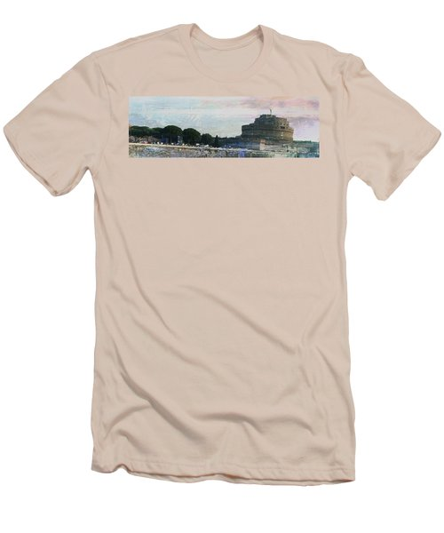 Men's T-Shirt (Slim Fit) featuring the painting Castel Sant'angelo     by Brian Reaves