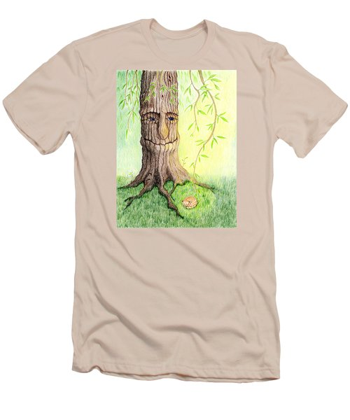 Men's T-Shirt (Slim Fit) featuring the drawing Cat And Great Mother Tree by Keiko Katsuta