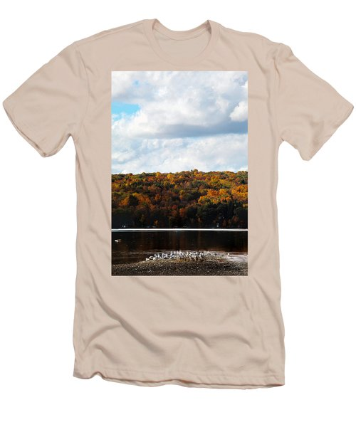 Men's T-Shirt (Slim Fit) featuring the photograph Cayuga Lake In Colorful Fall Ithaca New York  by Paul Ge